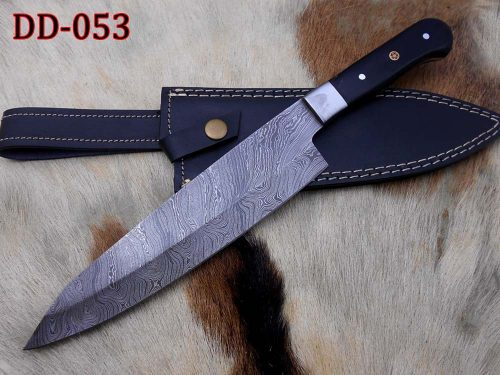damascus steel kitchen knife 11 4 inches tang 7 forged blade camel bone and