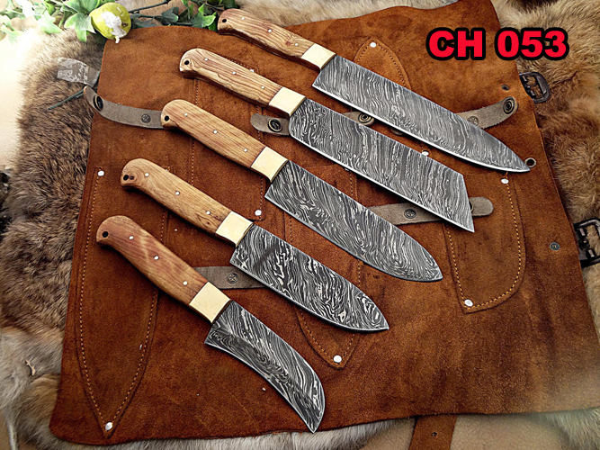 5 Pieces Chef Knives Set Overall 54 Inches Full Tang Hand Forged Damascus Steel Blade Custom Made Leather Sheath