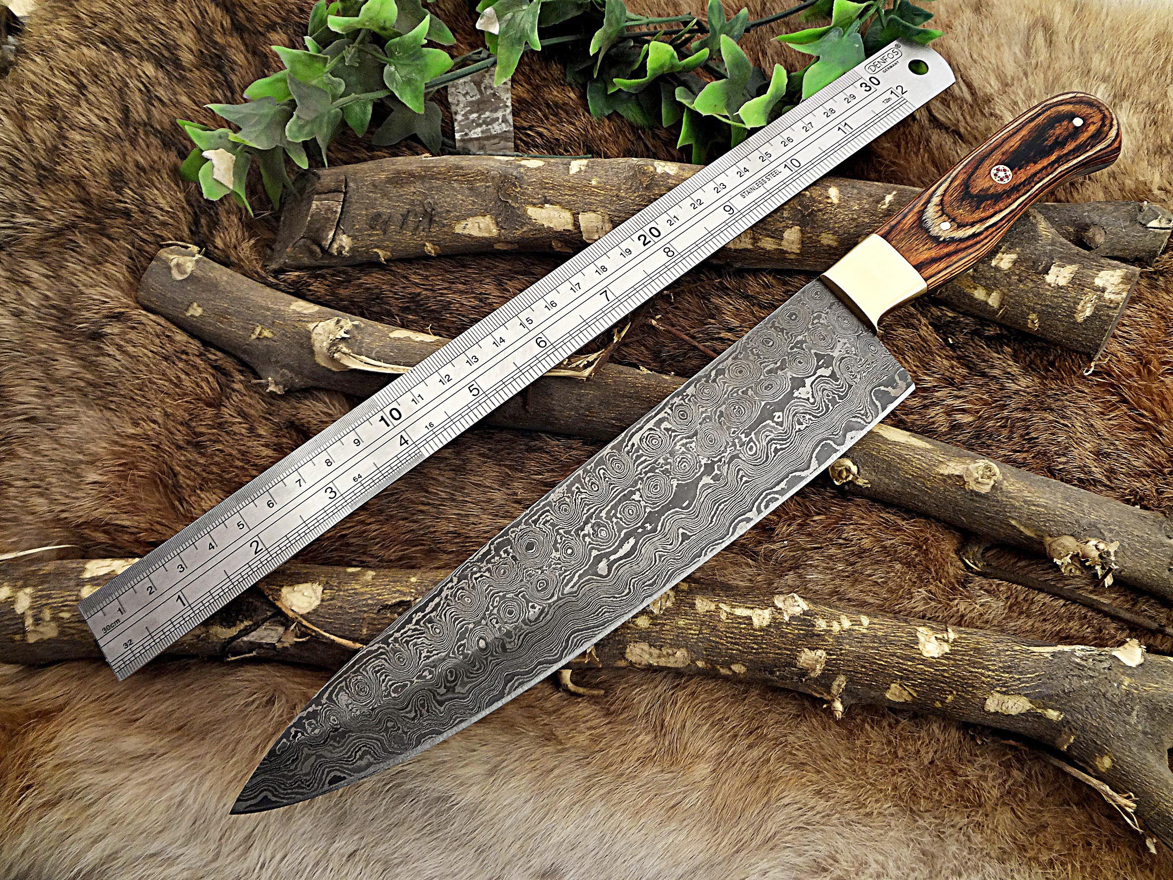 Damascus Steel Kitchen Knife 13 Inches Full Tang 8 5 Long