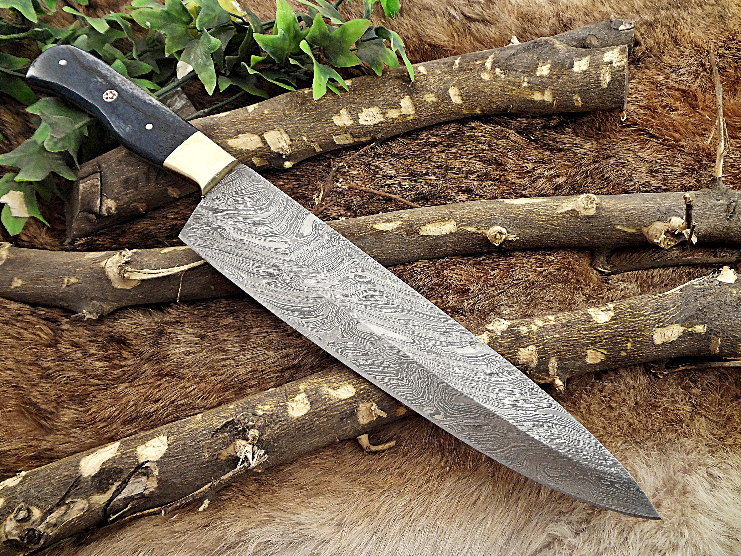 Ordinaire Damascus Steel Kitchen Knife 14 Inches Full Tang 9u2033 Long Hand Forged Blade,  Blue Colored Camel Bone And Brass Bolster Scale