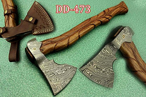 20 inches long damascus steel tomahawk axe engraved rose wood