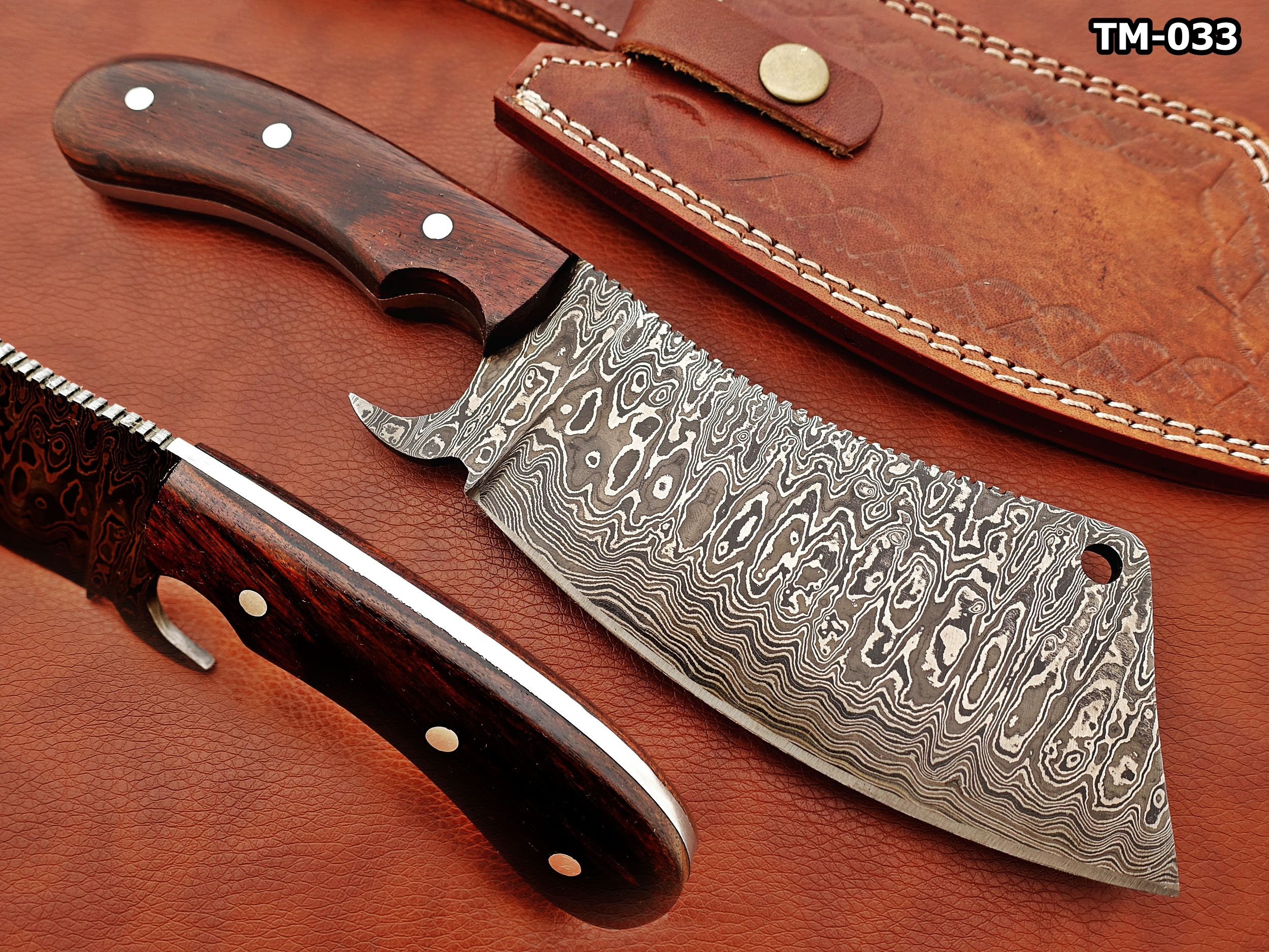 12 Hand Forged Damascus Steel Meat Cleaver Walnut Wood Scale Chopper Knife Leather Sheath Included