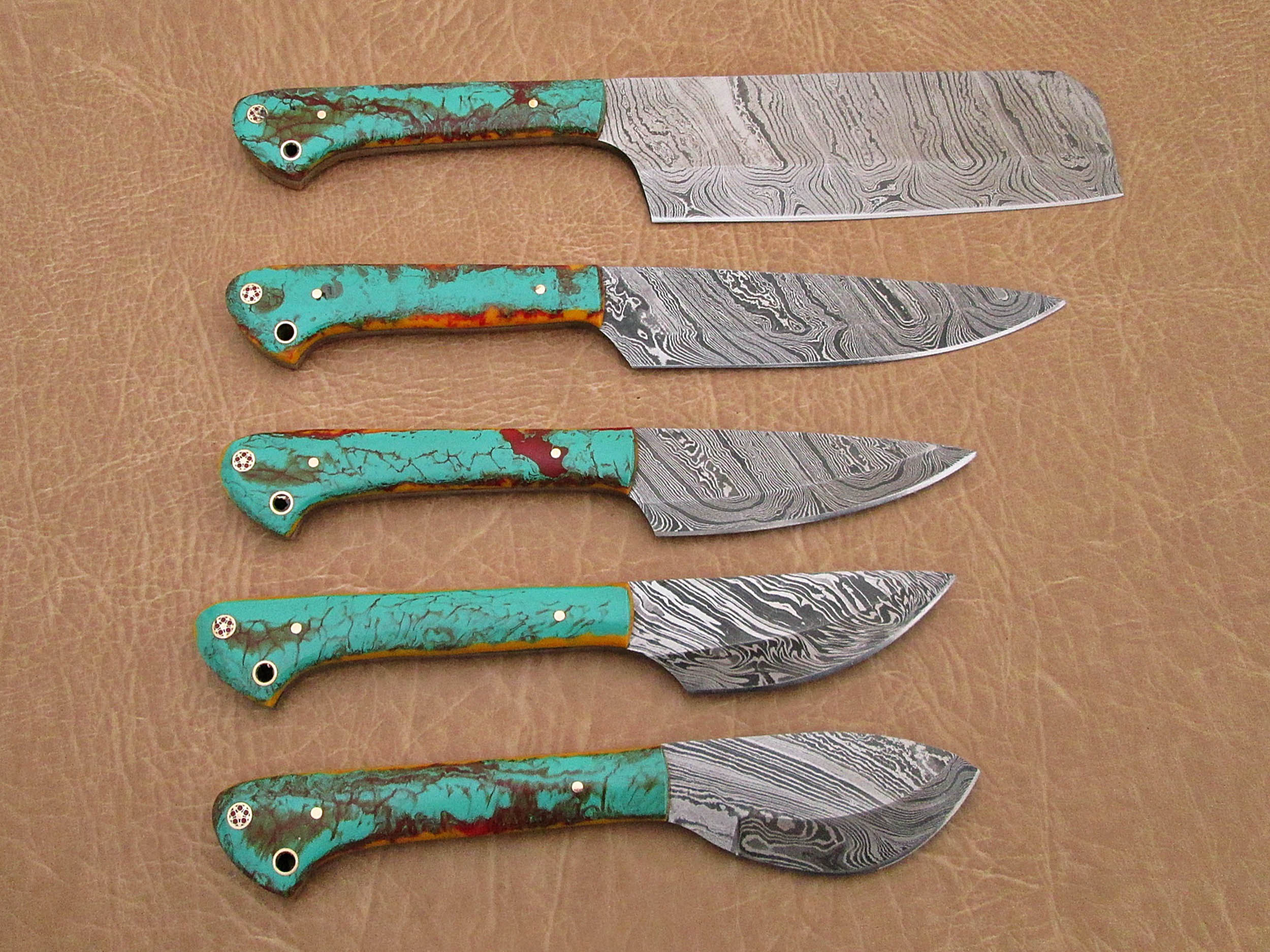 5 Pieces Damascus Steel Kitchen Knife Set Includes 10 6 9 6 9 0 8 0 7 6 Knives Multi Color Sea Green Scale Comes With Gift Box